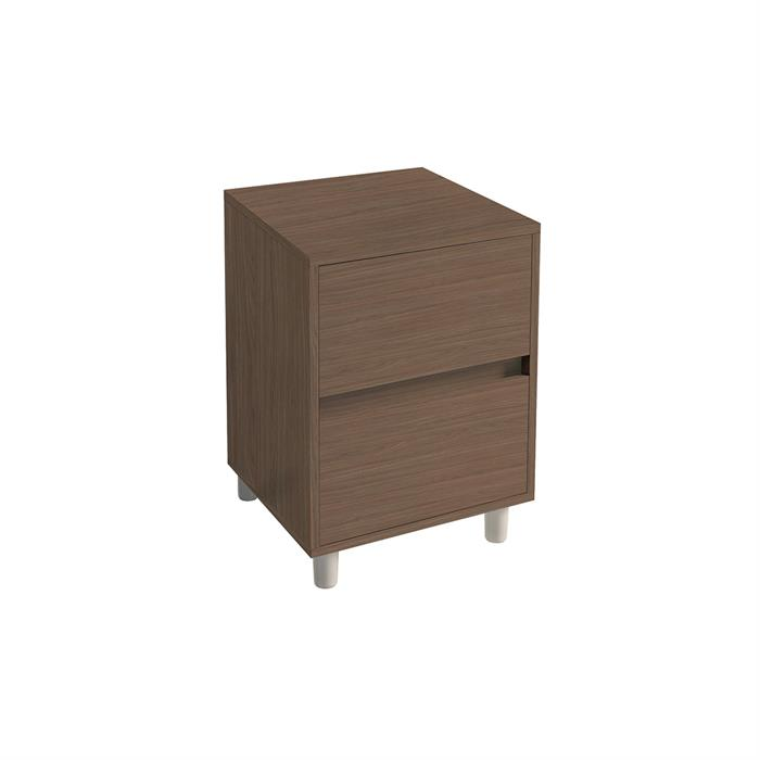 Bedside Unit-Drawer pack 2 Mild Walnut