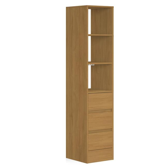 3 Drawer 450 Tower (4 Shelves) NO Hanger Bars Oak