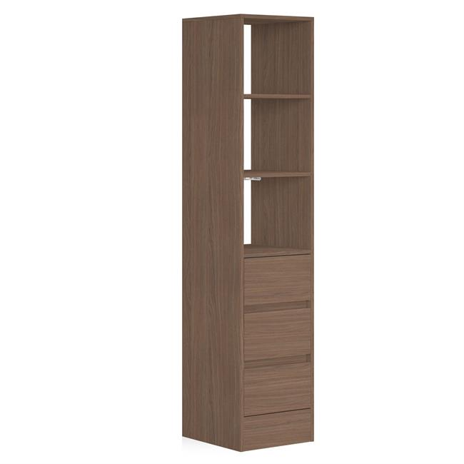 3 Drawer 450 Tower (4 Shelves) NO Hanger Bars Mild Walnut