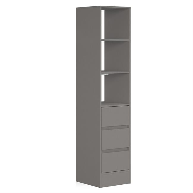 3 Drawer 450 Tower (4 Shelves) NO Hanger Bars Silver