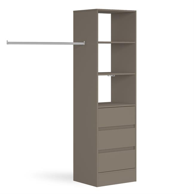 3 Drawer 600 Tower (4 Shelves) 1 Hanger Stone Grey